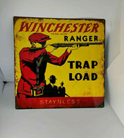 "Winchester Trap Load Ranger Gun Hunting Mancave Metal Sign Repro 12x12"" 60353"