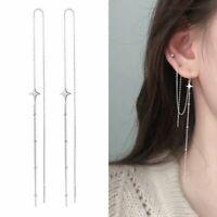1Pair Long Chain Tassel Earrings Ear Line Women Fashion Silver Star Drop Dangle