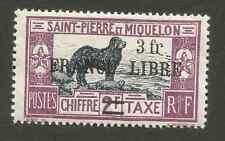 Timbre taxe  ST PIERRE et MIQUELON  3 frs s /2 frs  FRANCE LIBRE  Y.T 56 a NEUF