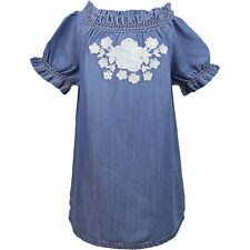 Janie And Jack Embroidered Chambray Dress