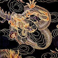 Gorgeous Metallic Gold Etched Purple Dragons on Black, Daiwabo by Trendtex