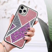 IPHONE 6/7/8/11/12/MAX/PLUS/PRO/X/XR/XS MOBILE PHONE CASE PINK/SILVER RHINESTONE