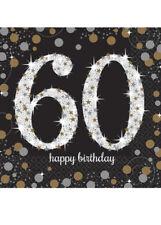 Black and Gold 60th Birthday Napkins