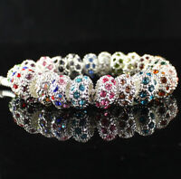 Classic Crystal Silver Plated Charms Spacer Beads fit Women DIY Euro Bracelet