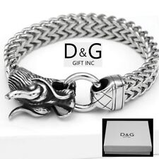 "New Men's 8.5"" Silver Stainless Steel DRAGON HEAD Franco Bracelet + Box"