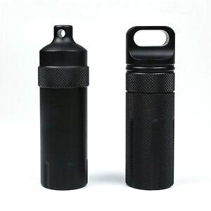 Waterproof Black 100mm Oil Vial Container Capsule Storage Cases Pill Stash Box
