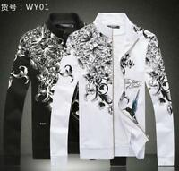 Mens Coats Jackets Stand Collar Slim Leisure Floral Zipper Outwear 2 Color Ths01