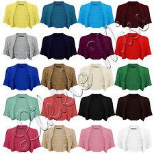 Women's Knitted Crochet Bolero Short Sleeve Cropped Ladies Shrug Cardigan 8-14