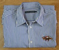 Ralph Lauren Ladies Shirt Long Sleeved Blue White Stripe Size UK 10