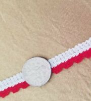 Vintage Red White Trim Knit 40s Christmas Crafts Sew Doll 24 Yards Yardage A35