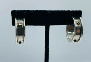 Tiffany & Co. Vintage Authentic Sterling Silver & Yellow 18k Gold Hoop Earrings
