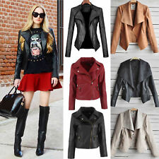 Women PU Leather Zipper Jacket Punk Motorcycle Biker Skinny Coat Outwear Tops