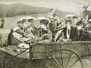 Winslow Homer STRAW RIDE 1869 Antique Art Print Matted