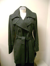 Nine West Wool Blend Double Breasted Coat 10 NWT Grey