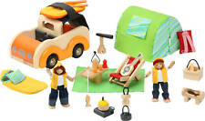 NEW childs TOY wooden CAMPING SET dolls x2 vehicle tent