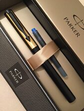NEW PARKER BETA BLACK & GOLD FINE NIB FOUNTAIN PEN-GIFT BOX