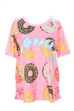 t-54 DULCE Donuts Rosa Multicolor Camiseta pastel goth LOLITA Japón Harajuku