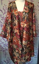 Vintage 80S nuisette et negligee set-rich florals pattern satin - 16