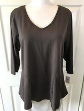 New! STUDIO WORKS Woman 1X Plus Brown 3/4-Sleeve Stretch-Nylon Peplum-Top Shirt