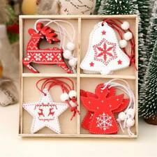 Wooden Wood Shabby Chic Christmas Xmas Tree Bauble Pendants Ornament Decor CB
