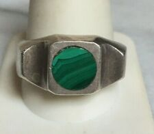 MEXICAN MEN'S 925 STERLING SILVER & MALACHITE SIGNET RING. SIZE 12