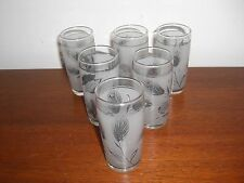 6 MID CENTURY MODERN LIBBY SILVER WHEAT JUICE GLASSES #1
