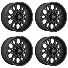 "Set 4 18"" Vision 412 Rocker Black Rims 18x9 6x5.5 12mm Chevy GMC Cadillac 6 Lug"