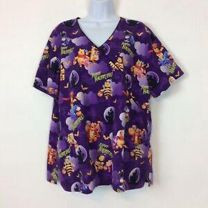 Disney Size 2XL Pooh Bear Tigger Happy Haunting Halloween Purple Scrub Top