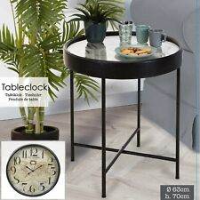 70cm Black Metal Side End Table Nightstand Furniture Living Room Bedroom Clock