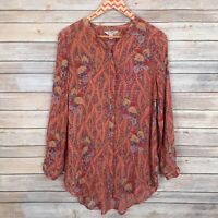 Lucky Brand Womens Top Button Front Long Sleeve Floral Print Size Small