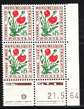 FRANCE COIN DATE BLOC DE 4 TIMBRE TAXE NEUF N° 97 TYPE FLEURS  COQUELICOT