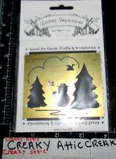 Pine Tree Snowman Brass Dry Emboss Stencil Embossing Lasting Impression