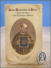 St Bernardine of Siena Healing Holy Card for Respiratory Ailments NEW (MC035)
