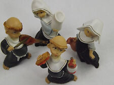 Figurine Depose Italy Roman Fontanini Monks Friars Nuns Set Of 4 Spider Marks x3