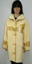 WHITE SWAKARA FUR GOLDEN LEATHER REVERSIBLE COAT  Sz.L-XL n20