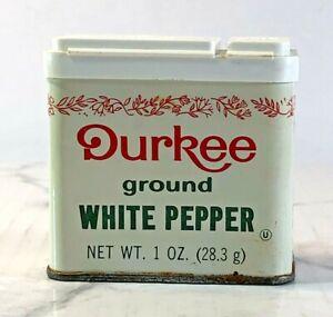 Durkee Collectors Tin Ground White Pepper 1 Oz  Red Leaf Trim Flip Lid Vintage