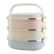 3 Tier Stainless Steel Insulated Bento Lunch Box Thermal Metal Food Containers