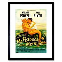 Vintage Movie Film Mr Peabody Mermaid Powell Blyth Framed Wall Art Print