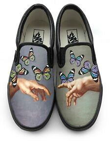 Creation of Adam x Monarch Butterfly Slip-on Vans Brand Shoes