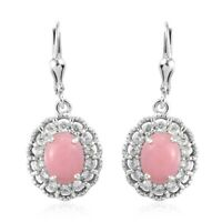 925 Sterling Silver Platinum Over Pink Opal Zircon Lever Back Earrings Ct 4.3