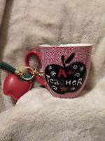 """A+ Teacher"" Red/Black/White Large Coffee/Tea Mug Cup with Apple Key Chain - NEW"