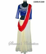 Bollywood Designer Indian Pakistani Stitched Saree-Blue-red-off white saree