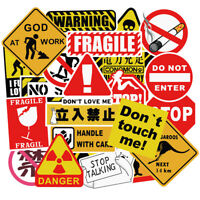 50PCS Warning Danger Stickers Waterproof Decal Sticker to DIY Laptop Luggage