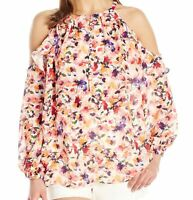 Catherine Malandrino Womens Blouse Orange Small S Floral Cold-Shoulder $88 689