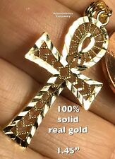 GOLD 10K ANKH Cross Pendant Yellow Filigree Charm necklace 1.9g 1.50""