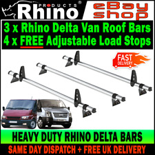 (SWB+MWB=LOW H1) 3x Mk6 - Mk7 Ford Transit Roof Rack Bars Rhino 2000-2014 Van