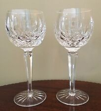 """Pair Of 2 Waterford Ireland Crystal 7 3/8"""" LISMORE Wine Hock Goblet Stemware"""