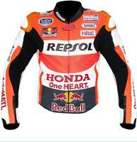 Repsol Homme Veste en Cuir de Moto Courses MOTOGP Vestes de Motard en Cuir CE