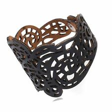 Women Vintage Punk Style Leather Bracelet Flower Wide Bangle Hollow Out