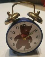 Early Vintage Bear Alarm Clock, Bear with Moving Eyes made in W Germany Wind Up